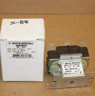 White Rodgers Steveco 90-342 DPDT Type 91 12 A Relay 208/240 VAC Coil