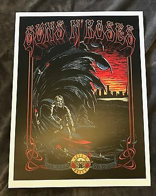 Rare Guns N Roses San Diego, CA Surfer Guy Lithograph Not In This Lifetime 2016