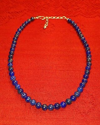 "Jay King Dtr 925 Lapis Bead Sterling Necklace 21"" Desert Rose Trade Mine Finds"