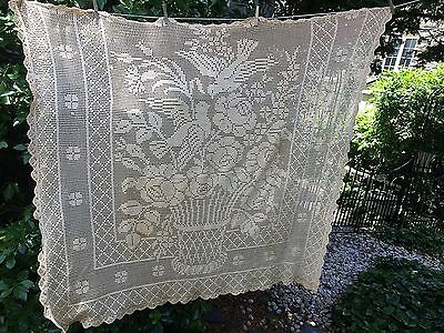 Antique Table Cloth Cover Hand Crochet Lace Cotton Basket of Flowers Bird  54x62