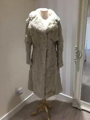 Real Fur Coat ~ Coney Fur ~ Long Length With Clasp Fastening