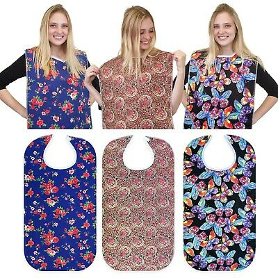 RMS 3 Pack Adult Bibs / Bib Waterproof Washable Clothing Protectors / Protector