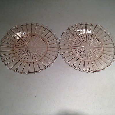 """Sierra By Jeannette Glass RARE Pink Depression Glass (2) - 9"""" Dinner Plates VGUC"""