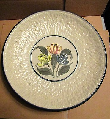 Large Purbeck Pottery Plate. Flower Pattern