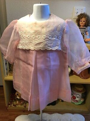 Vintage 1960s Authentic Frock Pink Organdy Dress Girls sz 24M