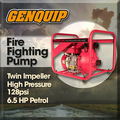 NEW Fire Fighting GENQUIP Water Pump Petrol Twin Impeller - 90M Head