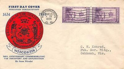 755 3c Imperforate Wisconsin, First Day Cover Cachet, By Jean Nicolet [E234162]