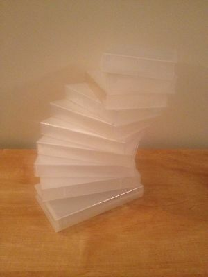 10 X EMPTY VHS VIDEO TAPE STORAGE CASES Clear Up Cycle Retro Cheap ,Free Posting