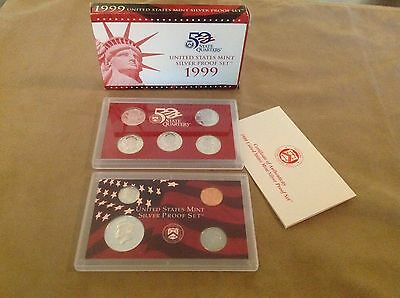 1999-S 9 uncirculated silver coin proof set United States Mint 50 State Quarters