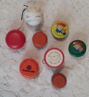 VINTAGE YO YO LOT of 8 ORIGINAL DUNCAN WOOD BUTTERFLY BUSTER BROWN BASEBALL