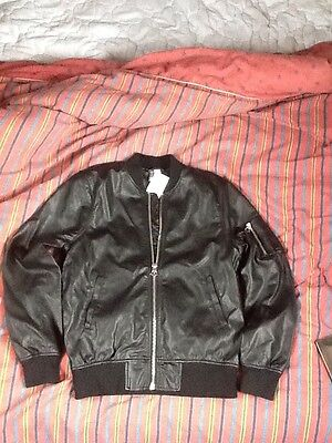 Mens Leather Look Bomber Jacket Size Small, New With Tags. H&M
