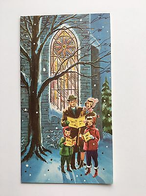 Vintage Christmas Card People Family Carol Sing Tree Child Stained Glass Church
