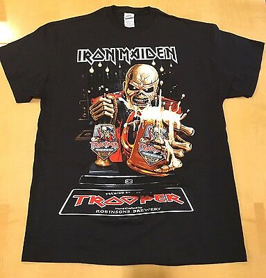 Iron Maiden The Trooper Beer Shirt Large Book of Souls Official US Tour 2017