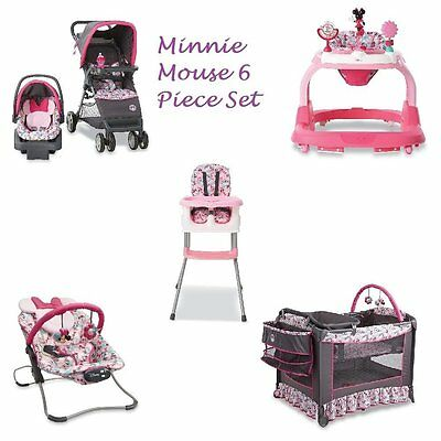 Minnie Mouse Newborn Set Baby Shower Gift Infant Travel System Play Yard New