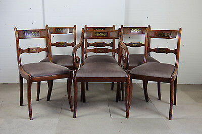 Set of Six Regency Period Brass Inlaid Mahogany Dining Chairs