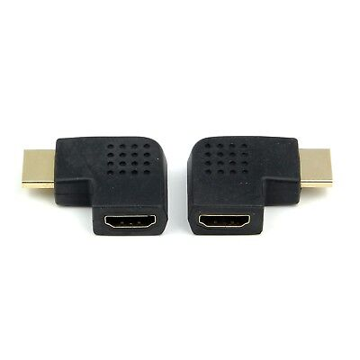 2x Left & Right 90 180 Degree Angled HDMI Male to Female Adapter Connector Cable