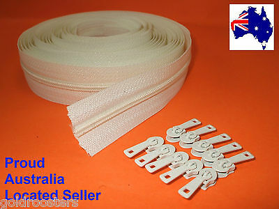 OFF White Continuous Zip & Slides (size no3) 5 metres Zipper Upholstery Cushions