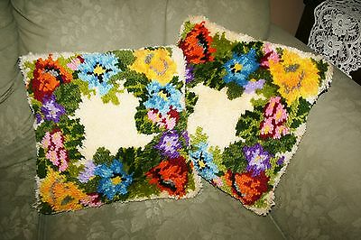 lot of 2 Handmade Vintage Retro Floral Pillow Latch Hook Bright Colors kitsch