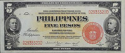 1936 US & Philippines 5 Pesos Treasury Certificate, Pick 83a, Crisp AU to Unc