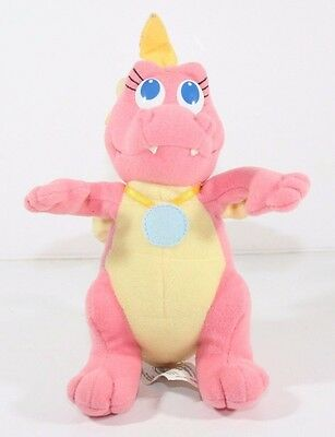 """Vintage Playskool Dragon Tales Pink Plush Flying Cassie with Moving Wings 6"""""""