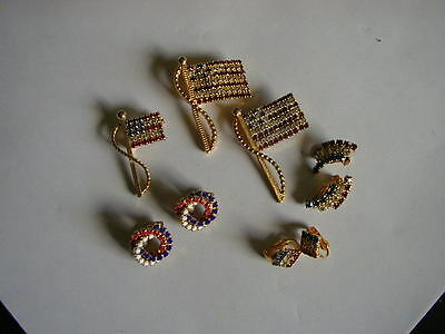 vintage lot of 6 rhinestone jewelry 4th of july red white blue nice & clean