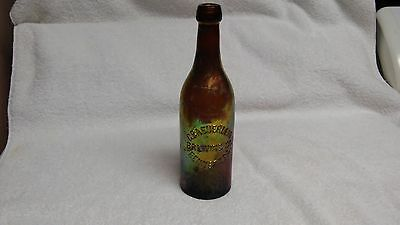 antique benecia glass beer bottle G Baeuerlein Brewing Co Bennett Pa 1880s or so