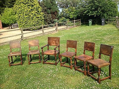 OLD CHARM/ SET OF 6 LEATHER DINNING CHAIRS Perfect Shabby Look Style
