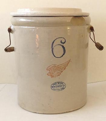 Vintage Wire Bail Handle - RED WING STONEWARE 6 GALLON CROCK w/ LID