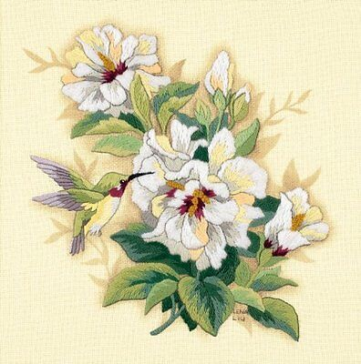 """Dimensions Hibiscus Floral Crewel Embroidery Stitch Kit 12"""" Square Craft NEW!"""