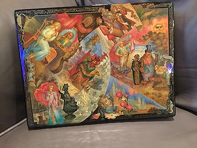 "Russian Lacquer Box ""Through The Looking Glass"" Museum Quality Alice Wonderland"