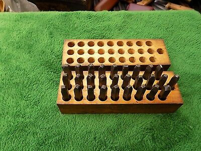 Vintage Steel Stamp Number Set In Wood Box Estate Find