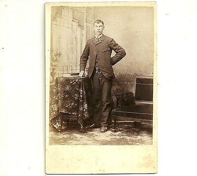 Vintage Cabinet Card Photo Young Man In Striped Suit Chatham Ontario Photograph