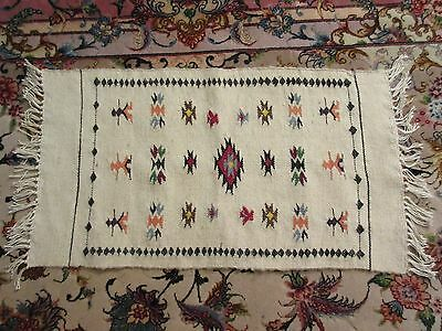 """Vintage Embroidered Native American Southwestern Wool Runner Small Rug 25"""" X 12"""""""