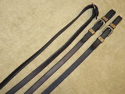 """LOVELY & HIGH QUALITY Black Plain 1/2"""" Dressage Reins w/BRASS BUCKLES & KEEPERS!"""