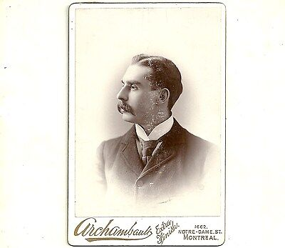 Vintage Cabinet Card Photo Handsome Young Man Montreal PQ Antique Photograph