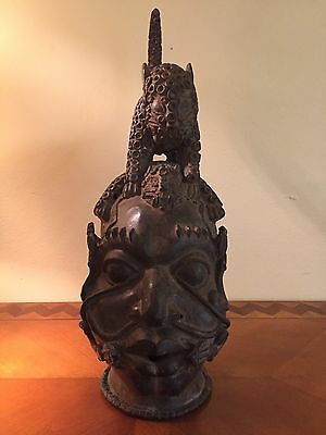Antique African Benin Ife Tikar Ashanti Bronze Head