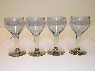4 Iridescent Blue Amethystcrystal Cordial Gold Trim Base Hand Blown Wine Glass