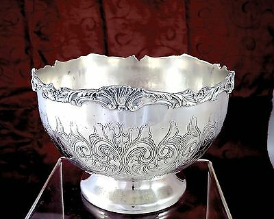 Vintage OLD ENGLISH REPRODUCTION Silverplate ROSE BOWL Shell & Scroll