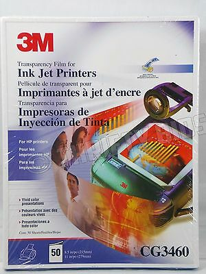 3M Transparency Film for HP Ink Jet Printers 50 Sheets 8.5 x 11 CG3460 Hewlett