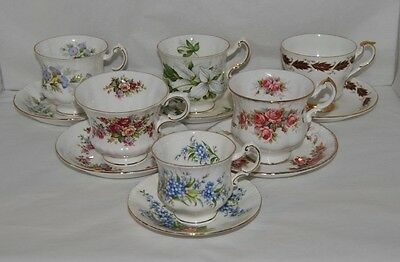 6 Beautiful Paragon, Made in England, Bone China Tea Cup And Saucer Sets Lot #4