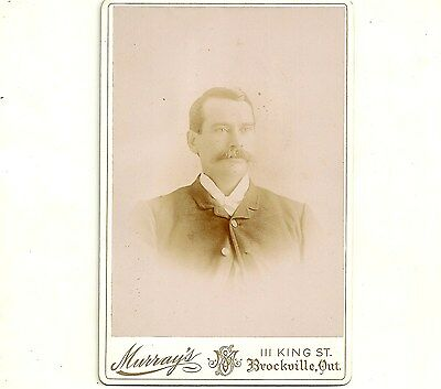 Vintage Cabinet Card Photo Man With Bushy Mustache Brockville Ontario Photograph