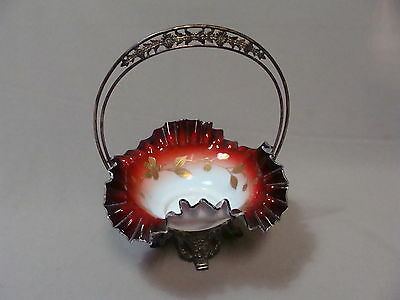 Antique Vintage James W Tufts Boston Wedding Basket Glass and Silver-Plate