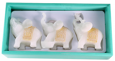 Feng Shui 3 White Jade Elephants Set Trunk Statues Wealth Figurine Home Decor