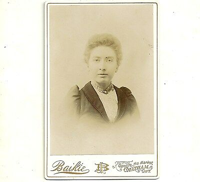 Antique Cabinet Card Photo Woman With Short Hair Chatham Ontario Old Photograph