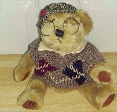 """Brass Button Bear Collection 12"""" """"Sherwood"""" w/ Sweater and Glasses Bear"""