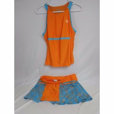 """Wilson Two Piece Ladies Tennis outfit sleeveless Med top 13"""" flat skort large"""