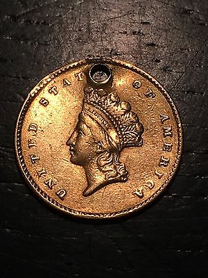 1855 1 One Dollar PURE GOLD US Coin, Indian Princess, Drilled Necklace Pendant