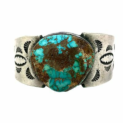 Native American Sterling Silver Rough Royston Turquoise Chunk Bracelet Cuff