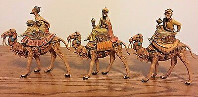 """Fontanine Italy Nativity Figures 3 Wise Men KINGS ON CAMELS 5 1/2"""" Marked ITALY"""