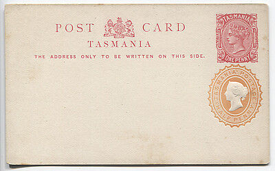 TASMANIA 1890s: unused 1d QV postal card with stamped-to-order ½d QV indicium